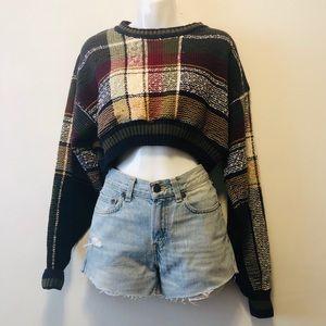 Vintage Crop Pattern Sweater